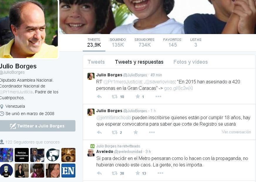 Twitter de Julio Borges