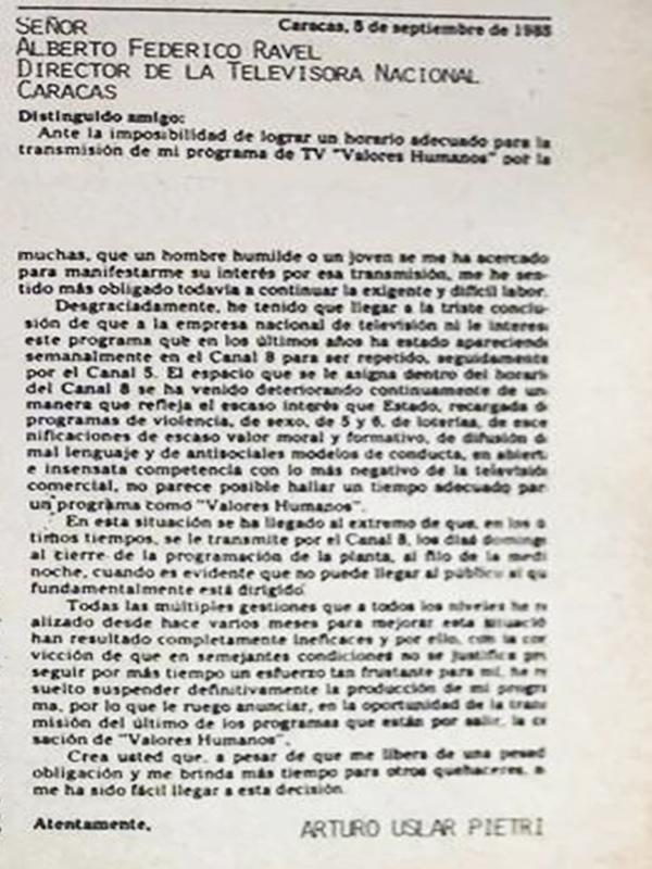 Por qué le renunció Uslar Pietri a Ravell - Solo la carta