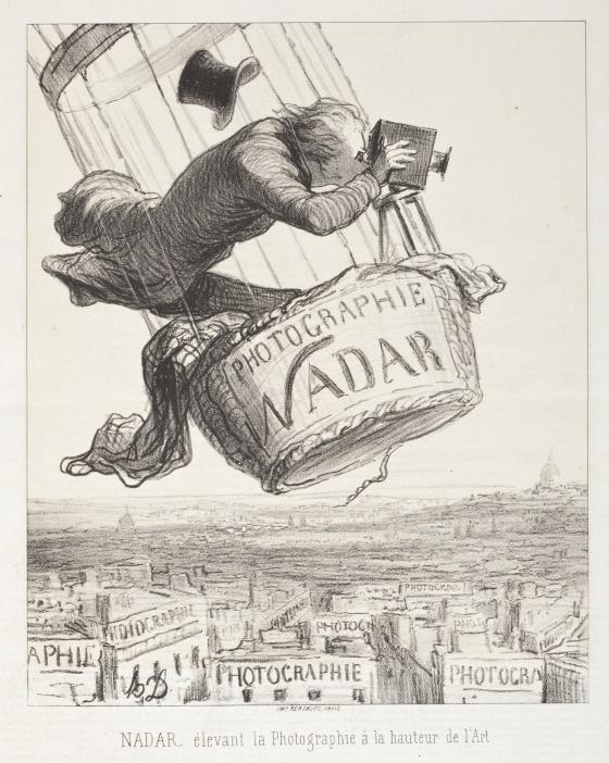 Nadar elevando la fotografía al nivel del arte, caricatura de 1862