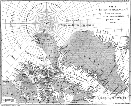El mapa de 'Las aventuras del capitán Hatteras'. Como gran parte del territorio del norte era desconocido, Verne lo imaginó en su novela, incluyendo un volcán en el Polo Norte
