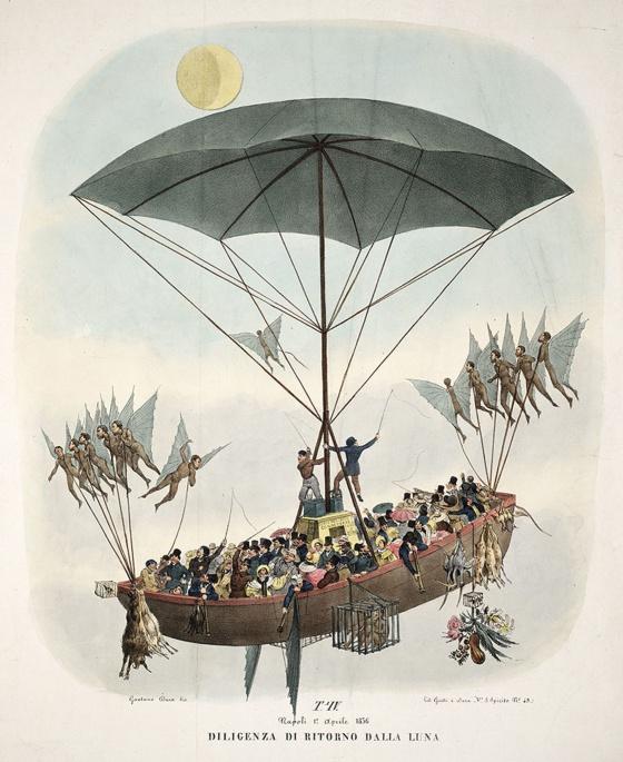 Ilustración de una versión italiana del bulo de Locke, publicada en 1836