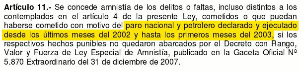 ley de amnistia art 11