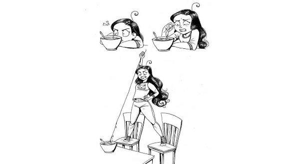 Un cabello en tu plato, crees que es de cualquier persona menos el tuyo, y finalmente lo aceptas