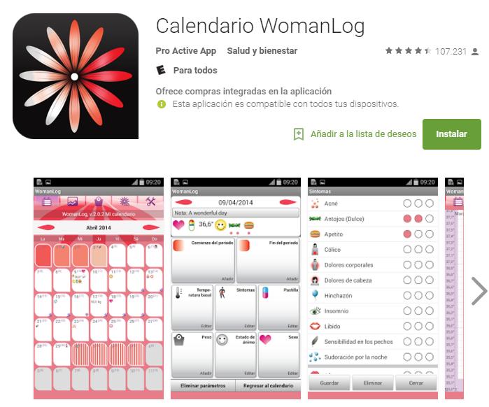 Woman Log. Es una herramienta sencilla para llevar más suave esos días difíciles para muchas y  programar los días fértiles. Para las chicas más olvidadizas es perfecta, gracias a su alarma de comienzo de ciclo.
