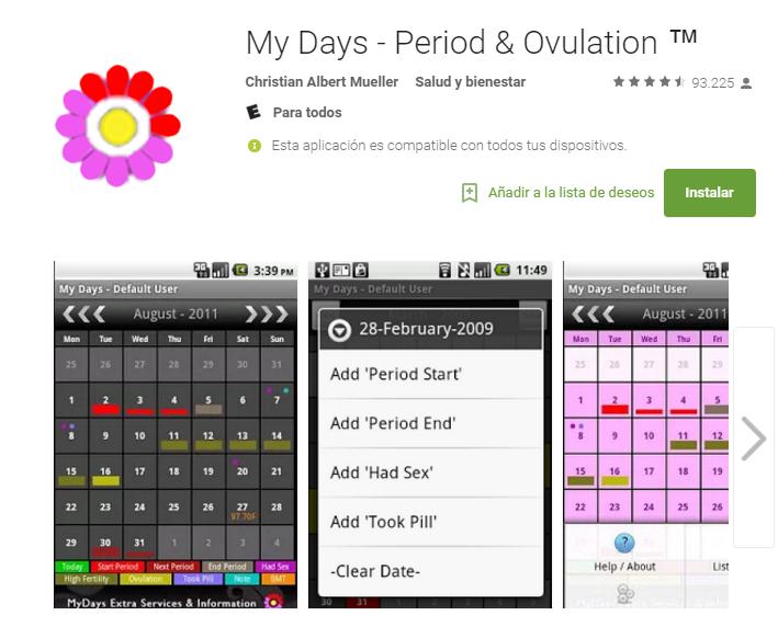 My Days. Lo mejor de esta aplicación es su diseño discreto para presentar tu bitácora menstrual. Además, puedes tener un gráfico de tu temperatura corporal según el momento en el que estás en tu ciclo.