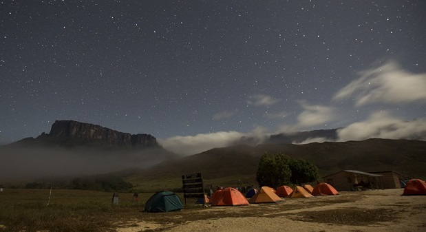 Kukenan and Roraima mounts are seen from the Tec Camp, near Venezuela's border with Brazil
