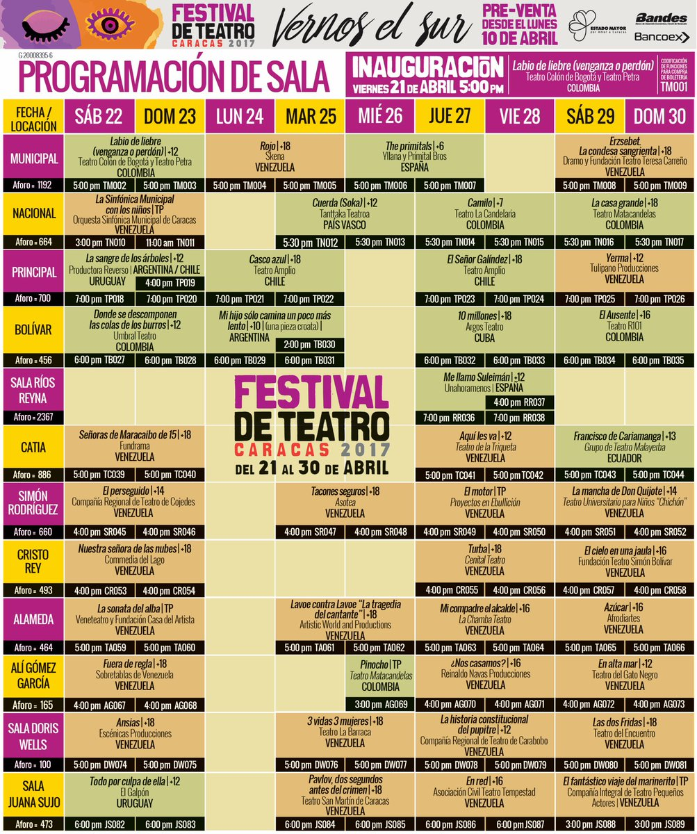 Programación del Festival de Teatro de Caracas