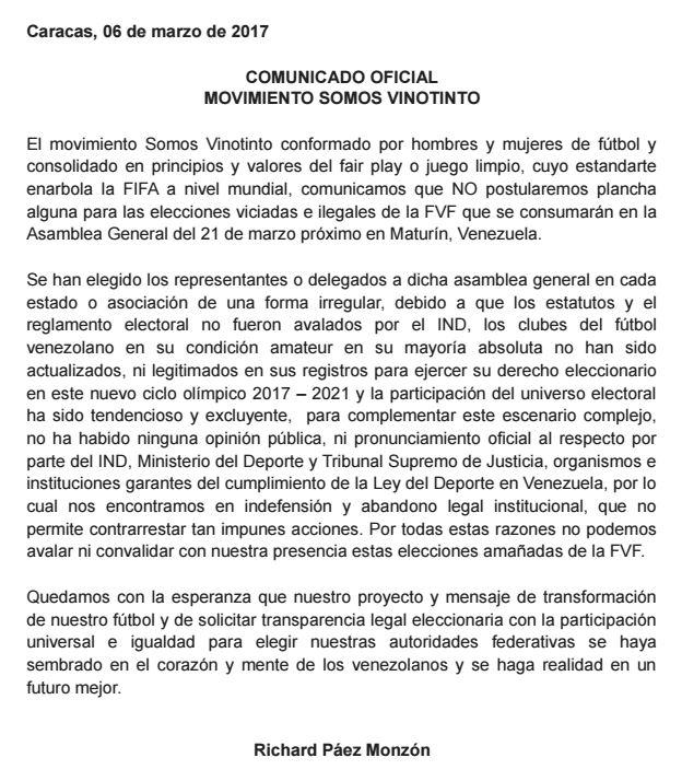 Richard Páez comunicado