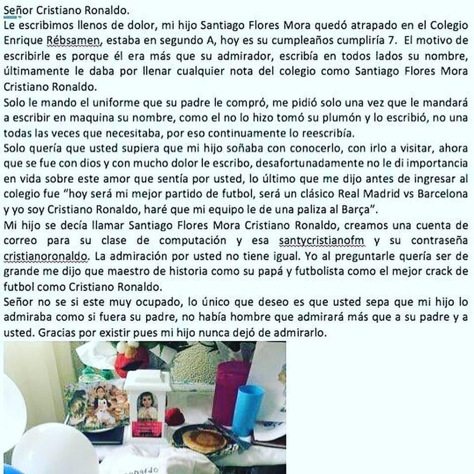 Carta a Cristiano Ronaldo