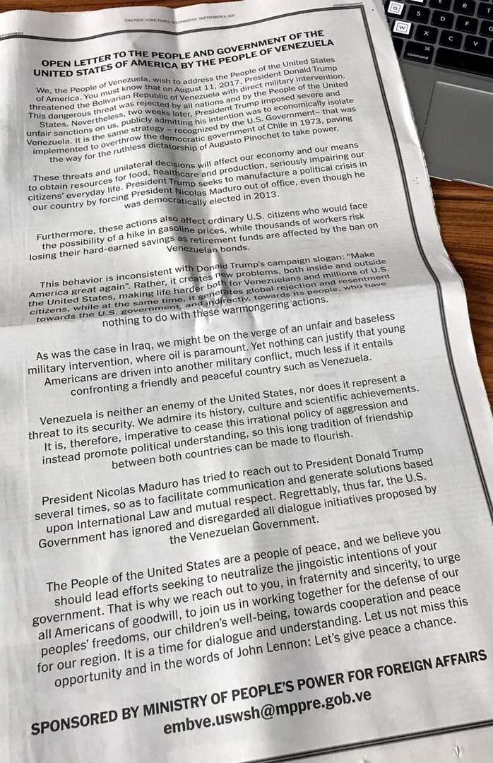 Carta abierta del pueblo venezolano