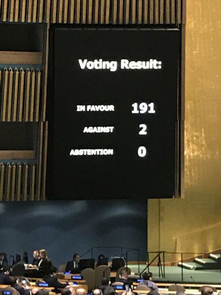 Resultados de votaciones ONU