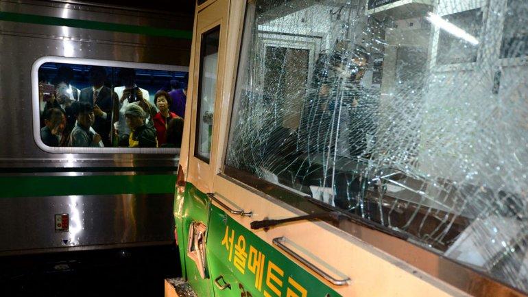 Choque de trenes en Seul -Corea del Sur