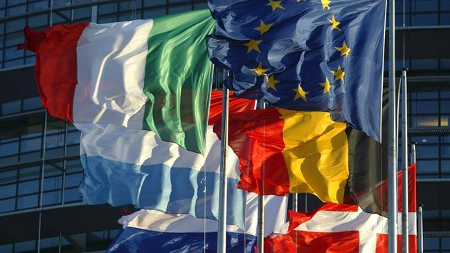 Banderas en la sede del parlamento europeo