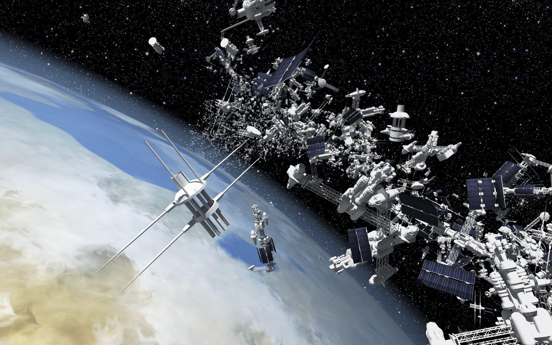 Basura en el espacio rodeando la tierra