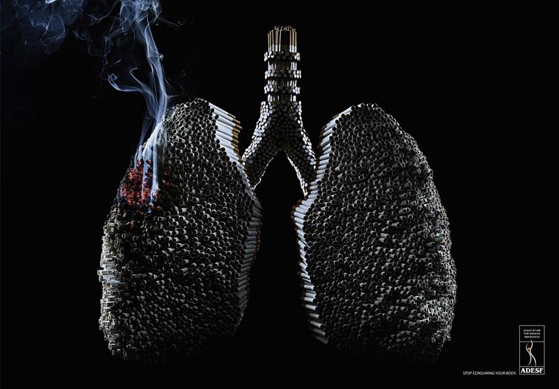 Arte de un pulmón hecho con cigarrillos
