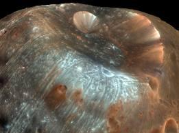 Foto satelital de crater en Marte