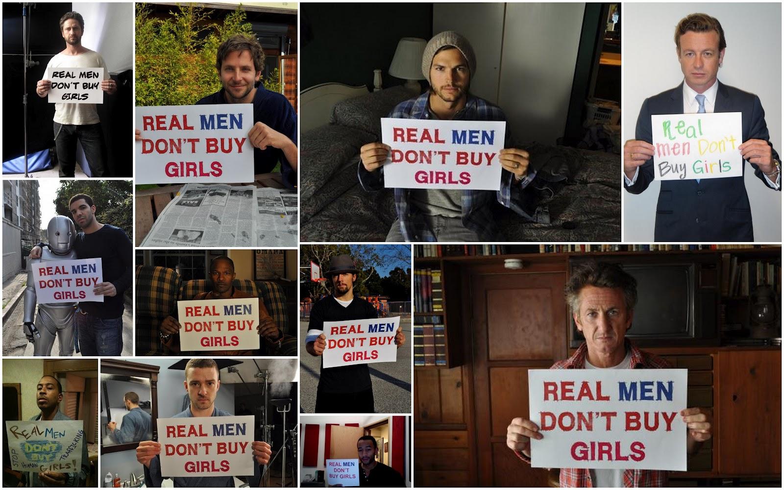 """Composición gráfica de la campaña """"Real Men Dont Buy girls"""""""
