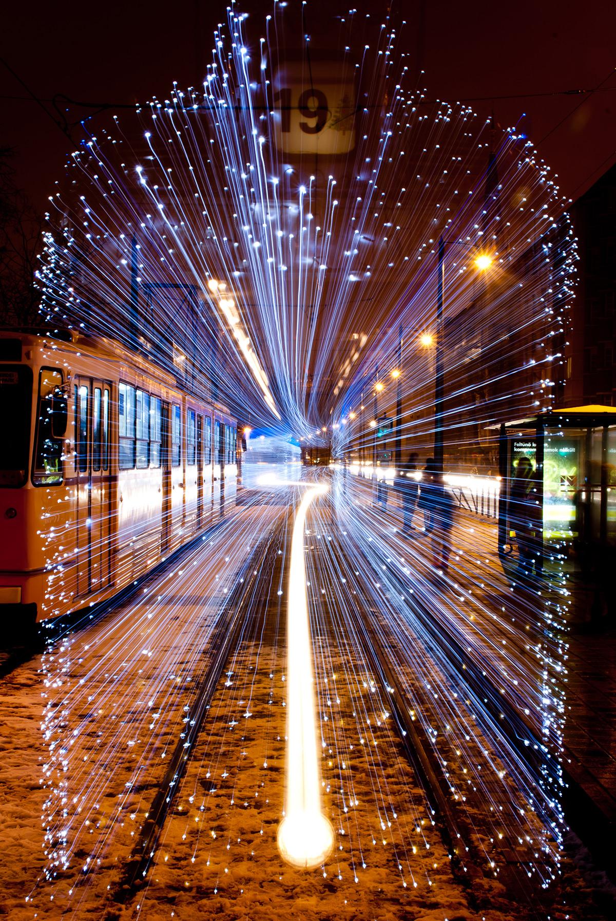 Tren con luces LED