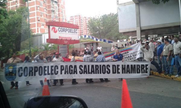 trabajadores de Corpoelec protestan en el Márquez