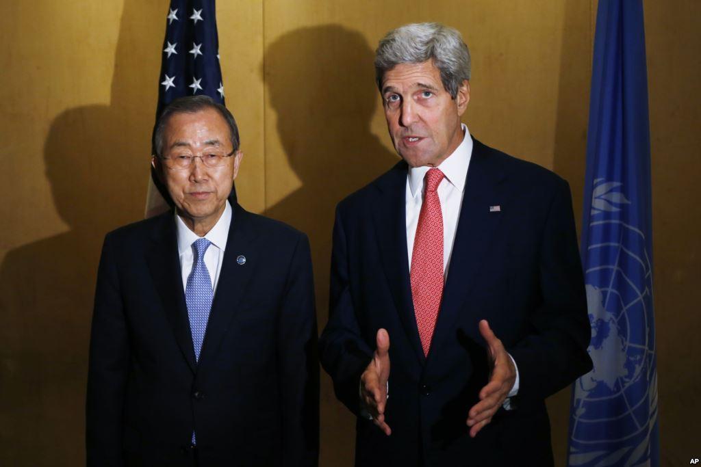 John Kerry y Ban Ki Moon