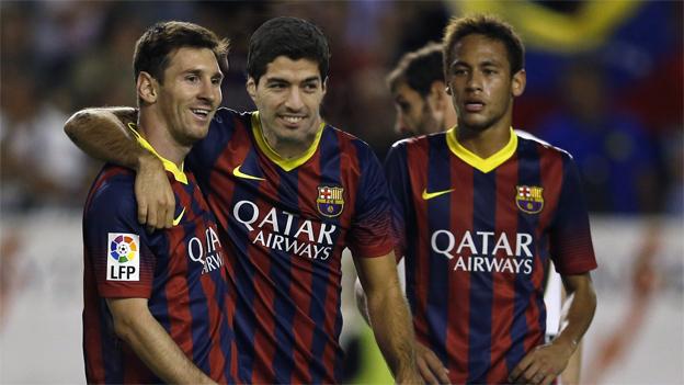 Messi, Suárez y Neymar uniforme del Barca