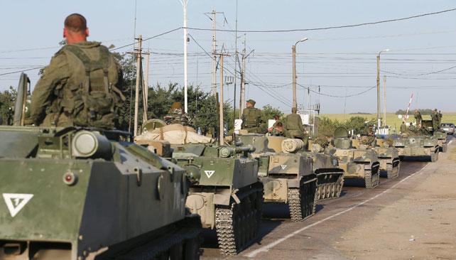 Blindados rusos rumbo a Lugansk