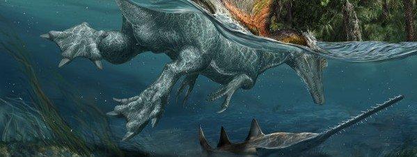 Ilustración de dinosaurio acuático