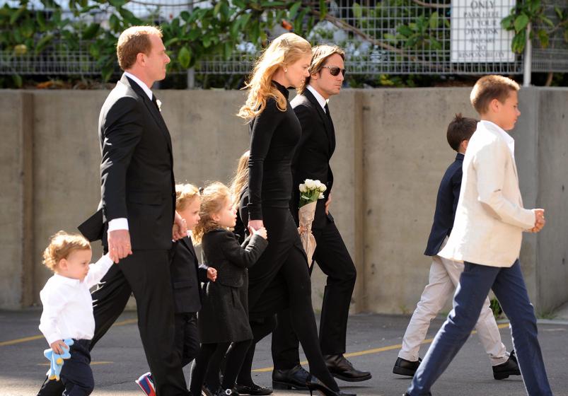 Nicole Kidman en el funeral de su padre