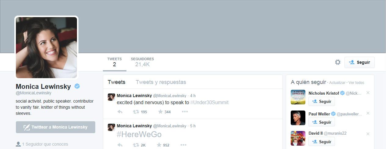 Mónica Lewinsky perfil twiter
