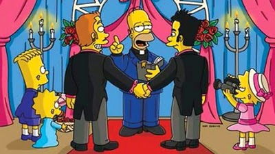 Homero Simpson oficia boda gay