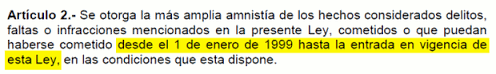 articulo 2 ley de amnistia