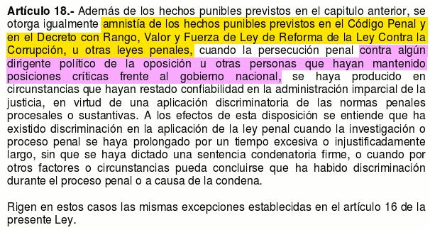 ley de amnistia art 18